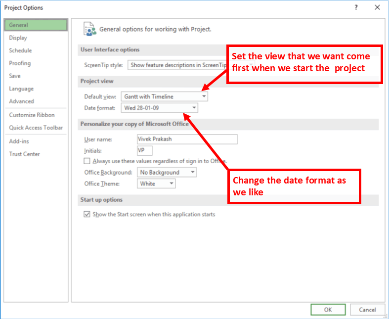 MS Project Option General Tab