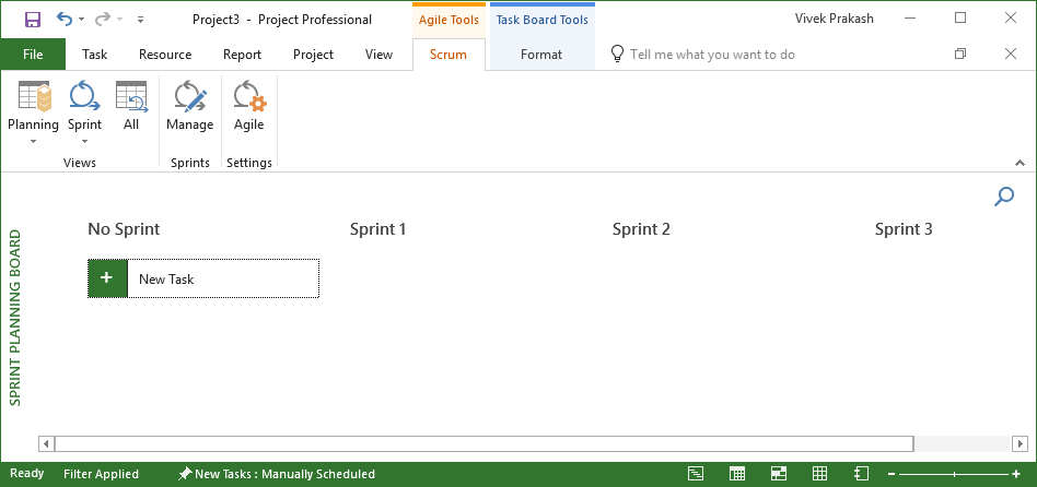 04-Create New Scrum Project Using MS Project