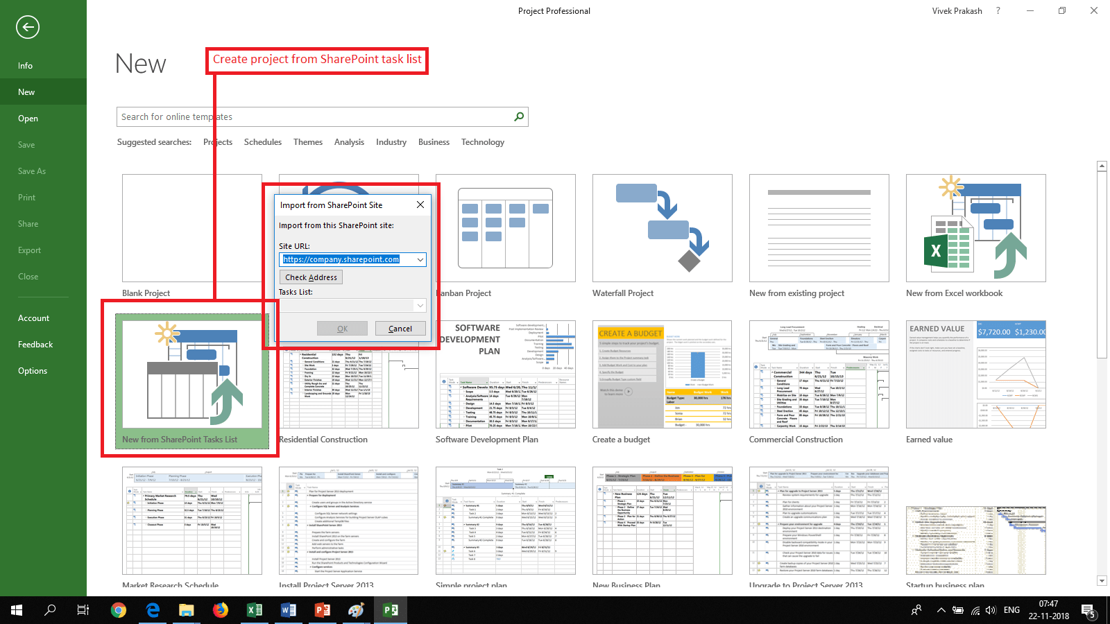 08-Create New Project From SharePoint Tasks List in MS Project
