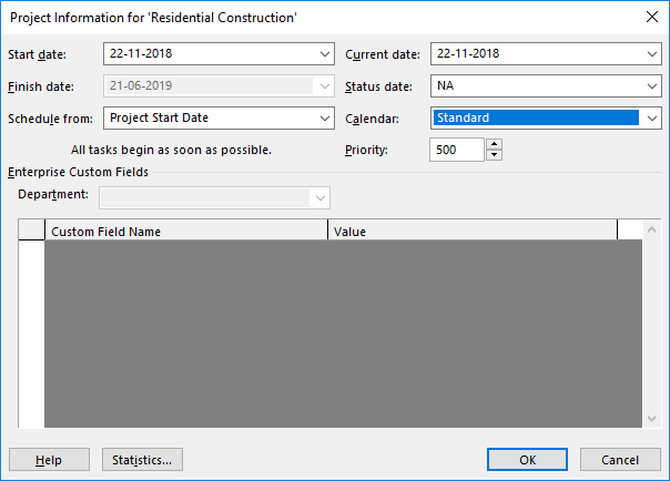 10-Create New Project - Project Information in MS Project