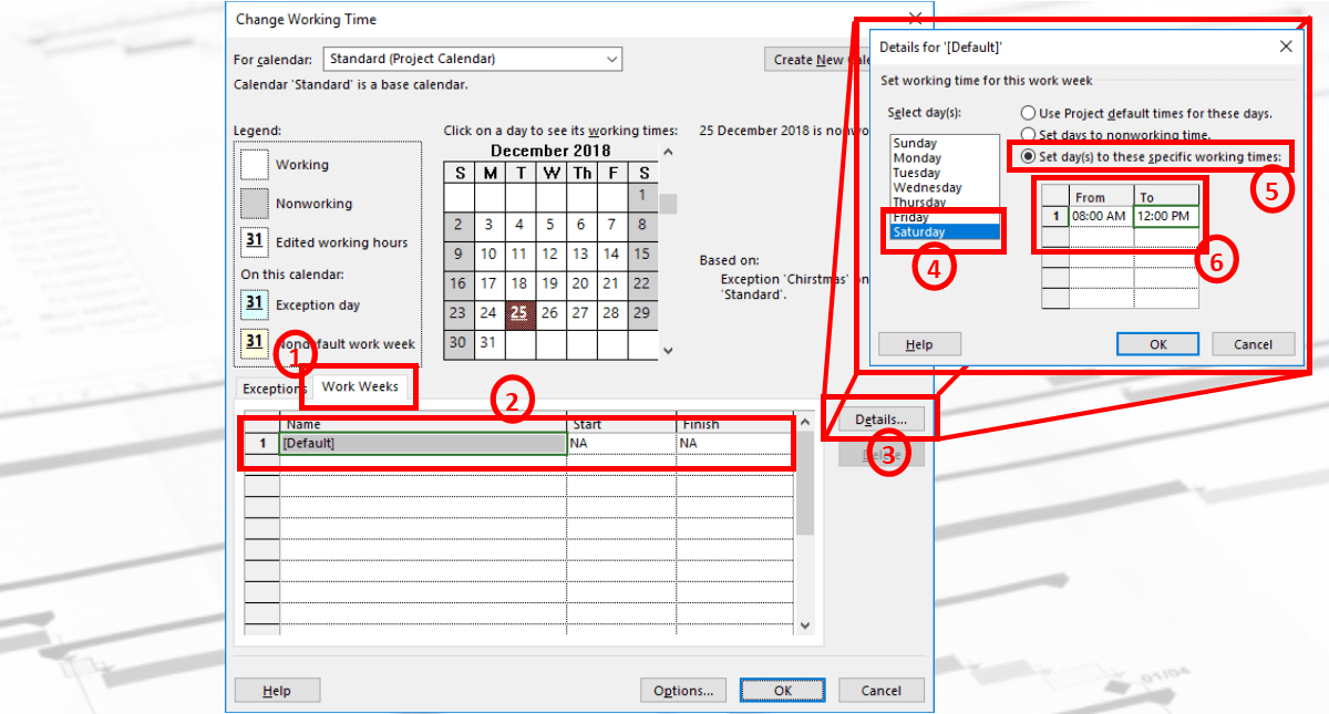 How to Change Regular Working Time in MS Project