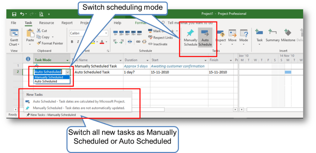 Switching between Manually Scheduled and Auto Scheduled Mode in MS Project